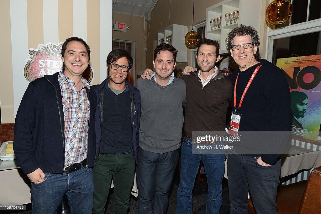 Juan Larrain, actor Gael Garcia Bernal, director Pablo Larrain, Jonathan King and Jim Berk attend the Stella Artois Cafe on January 18, 2013 in Park City, Utah.