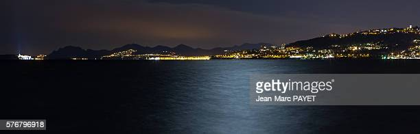 Juan les pins' bay in night