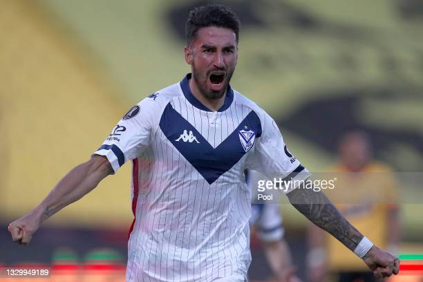 Juan Lucero of Velez celebrates after scoring the first goal of his team during a round of sixteen second leg match between Barcelona SC and Velez as...