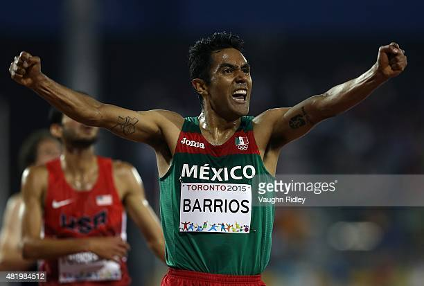 Juan Luis Barrios of Mexico wins Gold in the Men's 5000m Final during Day 15 of the Toronto 2015 Pan Am Games at the Pan Am Athletics Stadium on July...