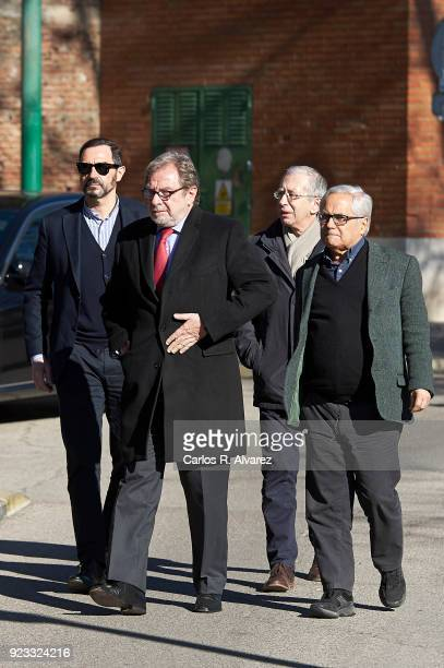 Juan Luis Cebrian and Juan Criz attend the Antonio Fraguas 'Forges' Funeral at La Almudena Cemetery on February 23 2018 in Madrid Spain