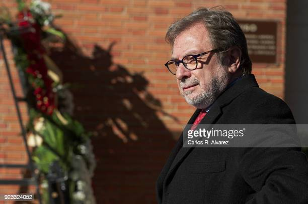 Juan Luis Cebrian attends the Antonio Fraguas 'Forges' Funeral at La Almudena Cemetery on February 23 2018 in Madrid Spain