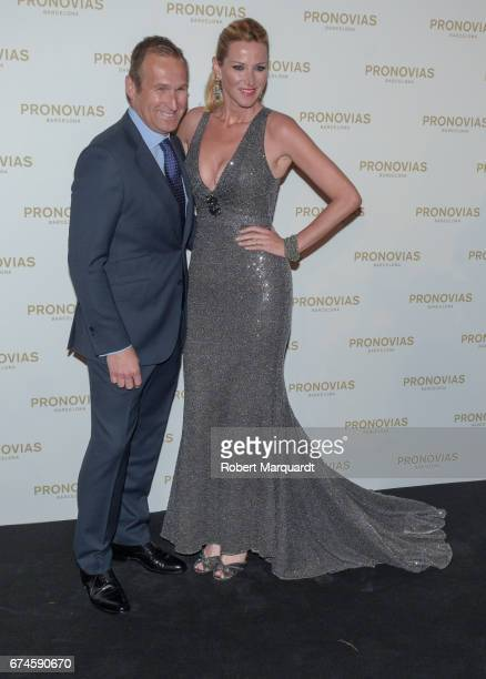 Juan Manuel Alcarez and Alejandra Prat attend the Pronovias Show during Barcelona Bridal Fashion Week 2017 held at the Museu Nacional d'Art de...