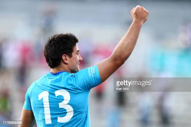 Juan Manuel Cat of Uruguay celebrates after the Rugby World Cup 2019 Group D game between Fiji and Uruguay at Kamaishi Recovery Memorial Stadium on...