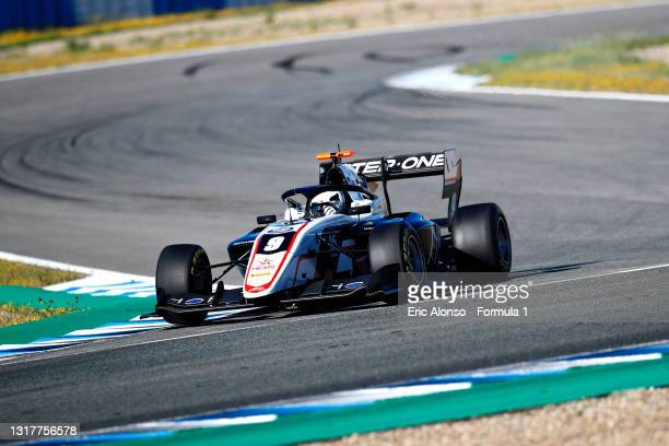 Juan Manuel Correa of United States and ART Grand Prix drives during day two of Formula 3 Testing at Circuito de Jerez on May 13, 2021 in Jerez de la...