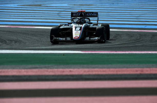 Juan Manuel Correa of United States and ART Grand Prix drives on track during practice ahead of Round 2:Le Castellet of the Formula 3 Championship at...