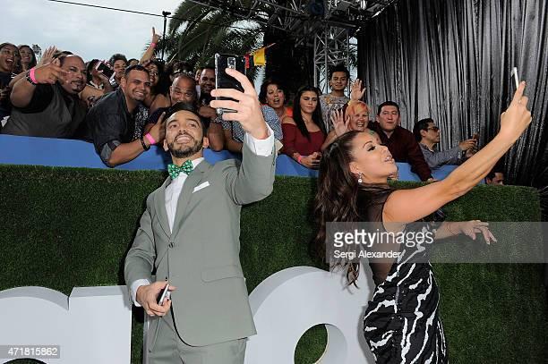 Juan Manuel Cortes and Carolina Sandoval attend the 2015 Billboard Latin Music Awards Premios Billboard at BankUnited Center on April 30 2015 in...