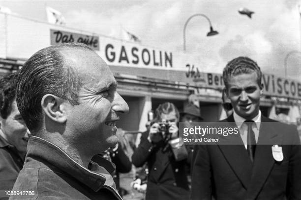 Juan Manuel Fangio and Juan Carlos King of Spain, Grand Prix of Germany, Nurburgring, 05 August 1956. Juan Manuel Fangio with Juan Carlos, King of...