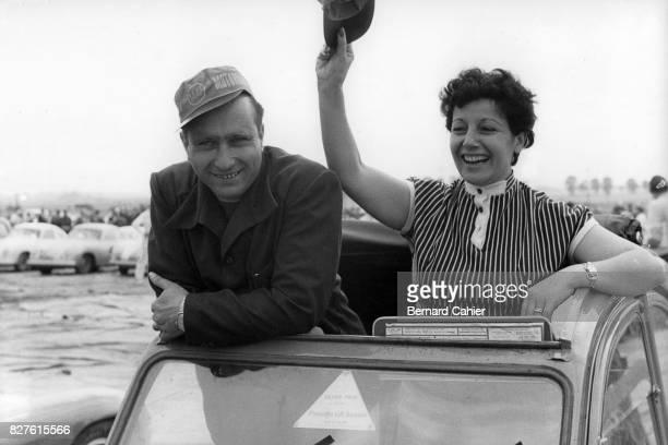 Juan Manuel Fangio Andrea Beba Berruet Citroen 2CV Grand Prix of Sweden Kristianstad 07 August 1955 Juan Manuel Fangio and girlfriend Andrea Beba...