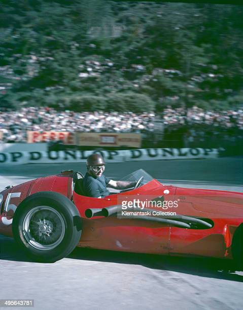 Juan Manuel Fangio at the gasworks hairpin in an experimental Maserati 250F V12 during practice for the Monaco Grand Prix Monte Carlo 18th May 1957