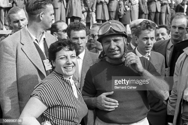 Juan Manuel Fangio, Beba Berruet, Grand Prix of the Netherlands, Circuit Park Zandvoort, 19 June 1955. A happy Juan Manuel Fangio with a smiling Beba...