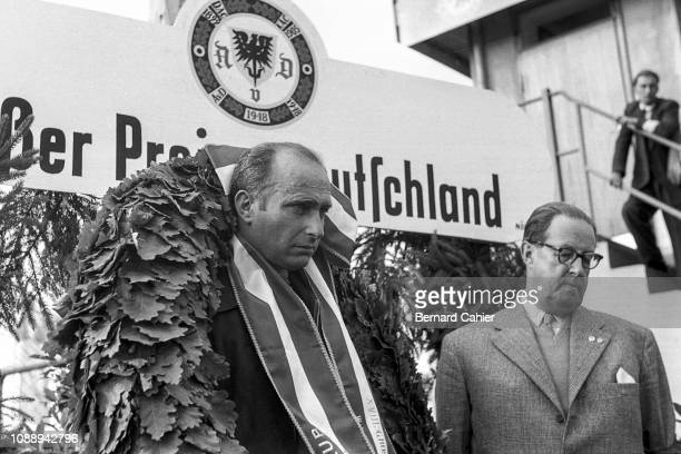 Juan Manuel Fangio, Grand Prix of Germany, Nurburgring, 05 August 1956. A tired and pensive Juan Manuel Fangio after over three and a half hours...