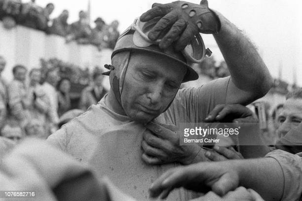 Juan Manuel Fangio, Grand Prix of Great Britain, Silverstone Circuit, 14 July 1956. Juan Manuel Fangio after his victory in the 1956 British Grand...
