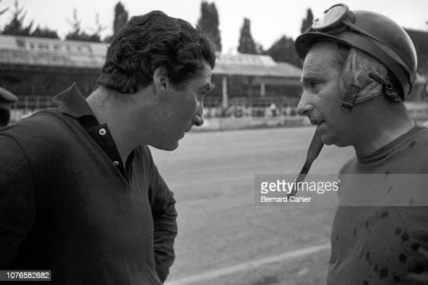 Juan Manuel Fangio Grand Prix of Italy Autodromo Nazionale Monza 02 September 1956 Juan Manuel Fangio with teammate Alfonso de Portago during...