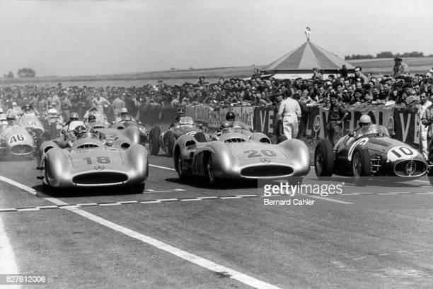 Juan Manuel Fangio, Karl Kling, Alberto Ascari, Mercedes W196, Grand Prix of France, Reims, 04 July 1954.