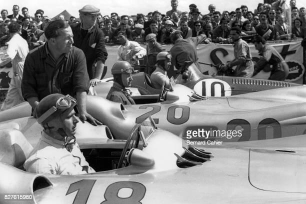 Juan Manuel Fangio, Karl Kling, Alberto Ascari, Mercedes W196, Maserati 250F, Grand Prix of France, Reims, 04 July 1954.