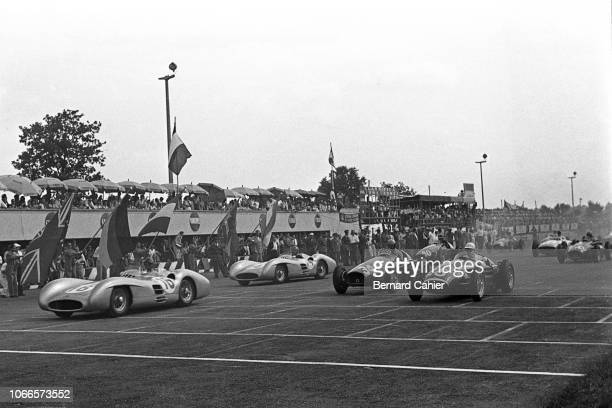 Juan Manuel Fangio, Karl Kling, Alberto Ascari, Stirling Moss, Mercedes W196, Ferrari 625, Maserati 250F, Grand Prix of Italy, Autodromo Nazionale...