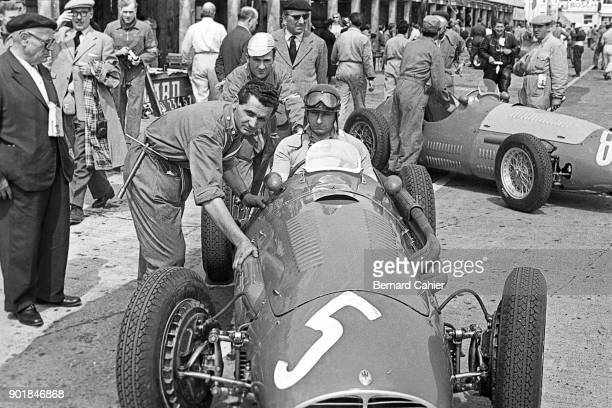 Juan Manuel Fangio Maserati A6GCM Grand Prix of Germany Nurburgring 02 August 1953 Juan Manuel Fangio in the pits during the 1953 German Grand Prix
