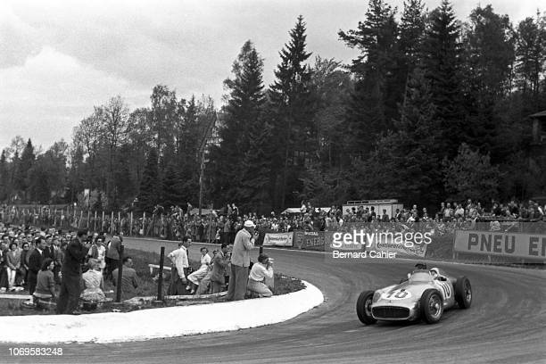 Juan Manuel Fangio, Mercedes W196, Grand Prix of Belgium, Circuit de Spa-Francorchamps, 05 June 1955. Juan Manuel Fangio on the way to victory in the...