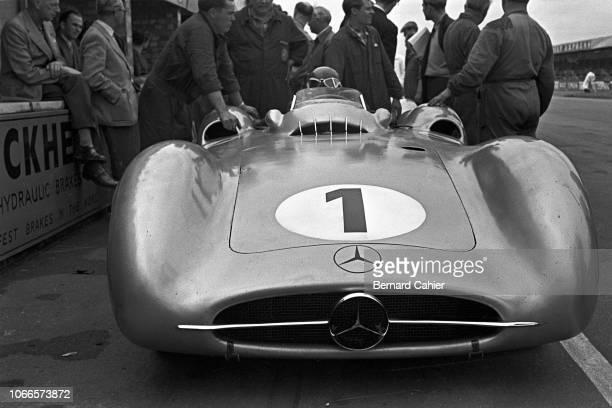 Juan Manuel Fangio, Mercedes W196, Grand Prix of Great Britain, Silverstone Circuit, 17 July 1954. Juan Manuel Fangio at the wheel of his Mercedes...