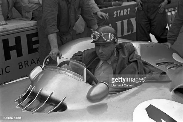 Juan Manuel Fangio Mercedes W196 Grand Prix of Great Britain Silverstone Circuit 17 July 1954 Juan Manuel Fangio at the wheel of his Mercedes W196s...
