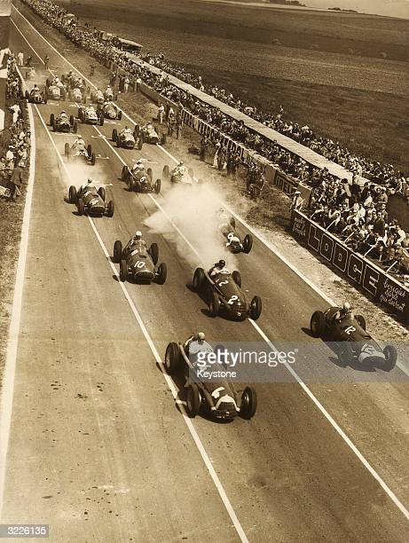 Competitors ready to start in the Prix d'Europe at Rheims The race was won by Juan Fangio of Argentina