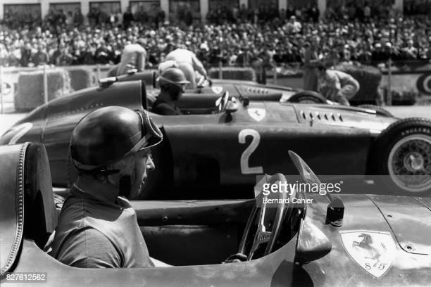 Juan Manuel Fangio, PeterCollins, Ferrari D50, Grand Prix of Germany, Nurburgring, 05 August 1956.
