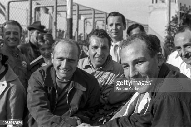 Juan Manuel Fangio, Stirling Moss, Grand Prix of Germany, Nurburgring, 05 August 1956. Juan Manuel Fangio with his friend, ex teammate Stirling Moss,...