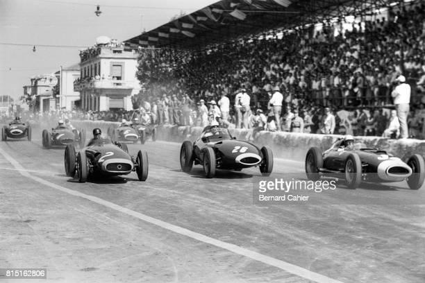 Juan Manuel Fangio Stirling Moss Luigi Musso Maserati 250F Vanwall VW5 Pescara Grand Prix Pescara Italy August 18 1957