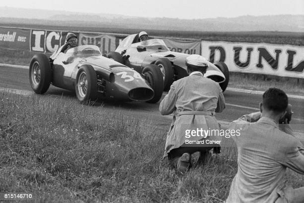 Juan Manuel Fangio Stirling Moss Maserati 250F Vanwall VW5 Grand Prix of France Reims France July 6 1958 Juan Manuel Fangio's last Grand Prix he...