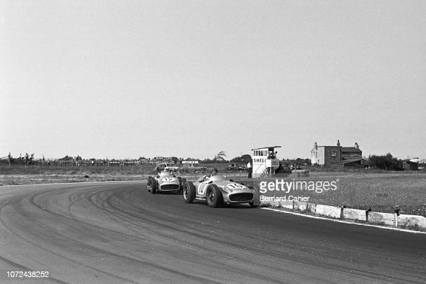 Juan Manuel Fangio, Stirling Moss, Mercedes W196, Grand Prix of Great Britain, Aintree Motor Racing Circuit, 16 July 1955. The 1955 British Grand...