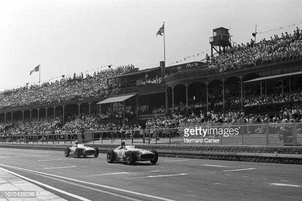 Juan Manuel Fangio Stirling Moss Mercedes W196 Grand Prix of Great Britain Aintree Motor Racing Circuit 16 July 1955 The 1955 British Grand Prix in...