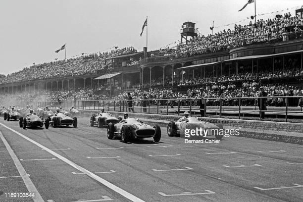 Juan Manuel Fangio Stirling Moss Mercedes W196 Grand Prix of Great Britain Aintree Motor Racing Circuit 16 July 1955 Start of the 1955 British Grand...