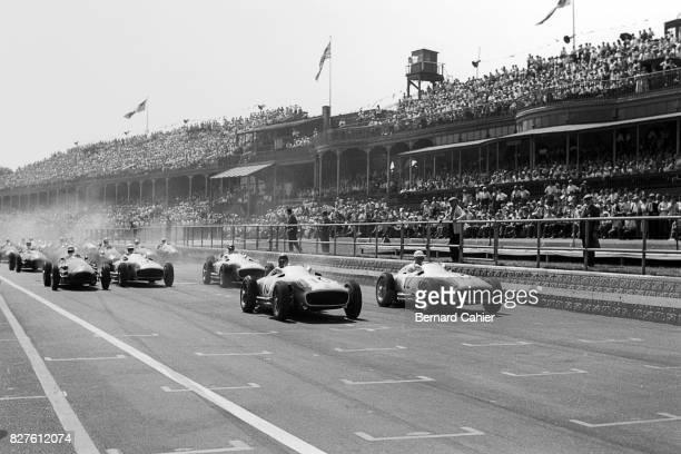 Juan Manuel Fangio, Stirling Moss, Mercedes W196, Grand Prix of Great Britain, Aintree, 16 July 1955.