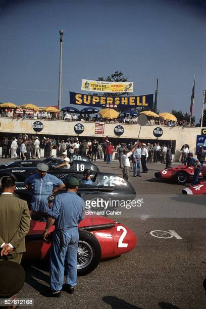 Juan Manuel Fangio Tony Brooks Stirling Moss Stuart LewisEvans Maserati 250F Vanwall VW 5 Grand Prix of Italy Monza 08 September 1957