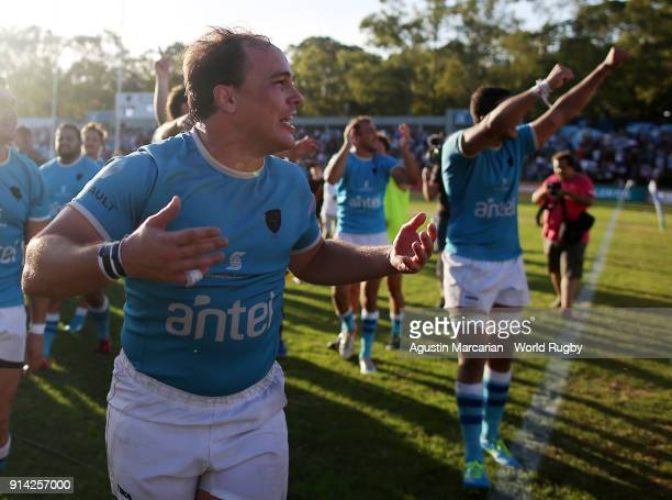 Juan Manuel Gaminara of Uruguay celebrates after qualifying to the Rugby World Cup 2019 at Estadio Charrua on February 3 2018 in Montevideo Uruguay