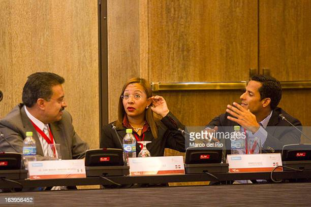 Juan Manuel Garduño Claudia Perez and Marco Diaz talk during the Antidopping Commission Conference as part of XIX Sports Minister of America and...