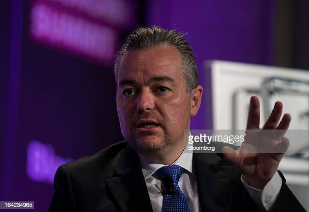 Juan Manuel Gonzalez Lelo de Larrea head of sales and business development for Latin America at Bombardier Inc speaks during the Bloomberg Mexico...