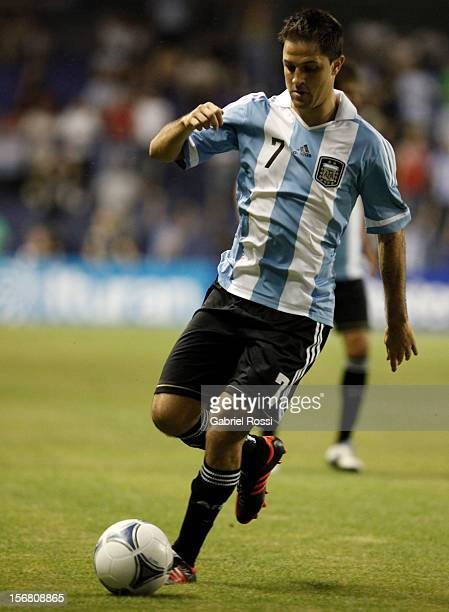Juan Manuel Martinez of Argentina in action during the second leg of the Superclasico de Las AmŽricas between Argentina and Brazil at Bombonera...