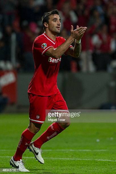 Juan Manuel Salgueiro of Toluca celebrates after scoring during a semifinal match between Toluca and Alajuelense as part of the CONCACAF Liga de...