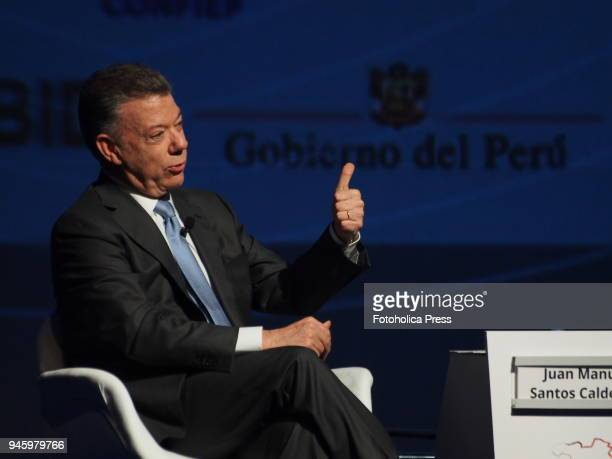 Juan Manuel Santos Calderon President of Colombia giving a conference in the framework of the VIII Summit of the Americas The event takes place on...