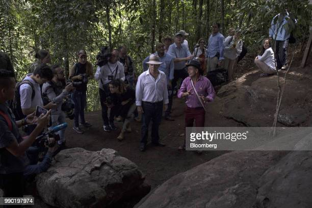 Juan Manuel Santos Colombia's president center tours the Chiribiquete National Park near San Jose del Guaviare Colombia on Monday July 2 2018 The...
