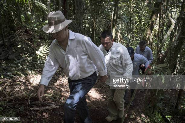 Juan Manuel Santos Colombia's president left tours the Chiribiquete National Park near San Jose del Guaviare Colombia on Monday July 2 2018 The...