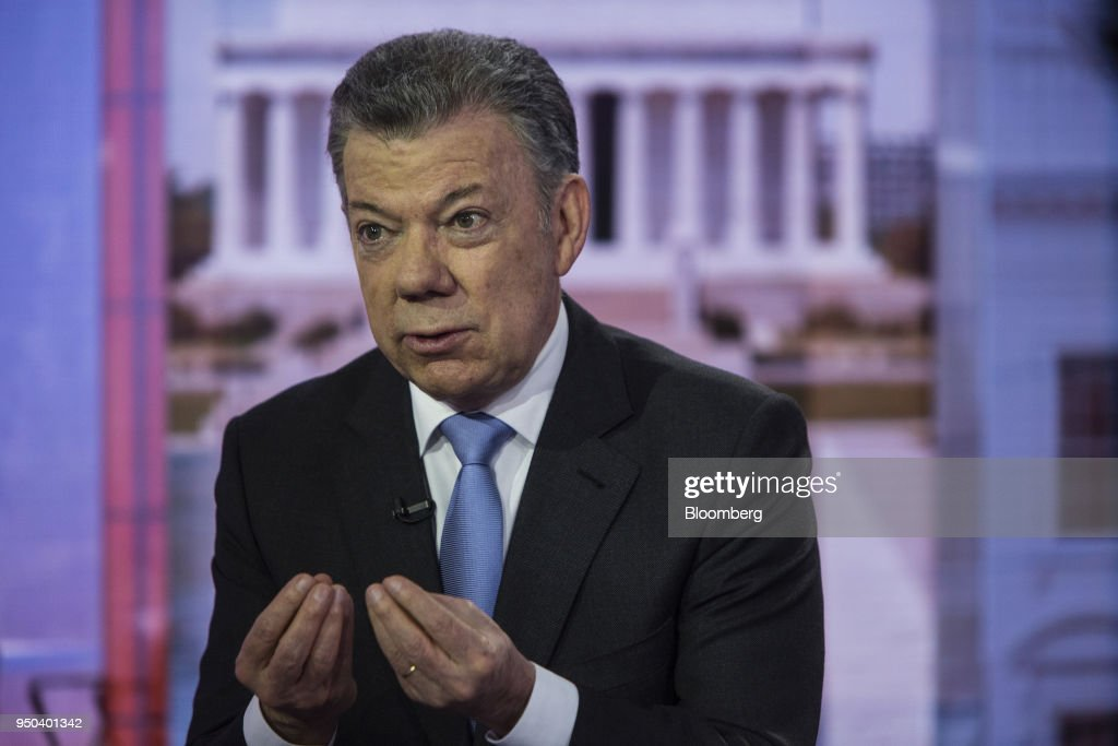 Juan Manuel Santos, Colombia's president, speaks during a Bloomberg Television interview in New York, U.S., on Monday, April 23, 2018. Santosdiscussed the Colombian peace agreement, the nation's economy, and the Venezuelan migration crisis. Photographer: Victor J. Blue/Bloomberg via Getty Images