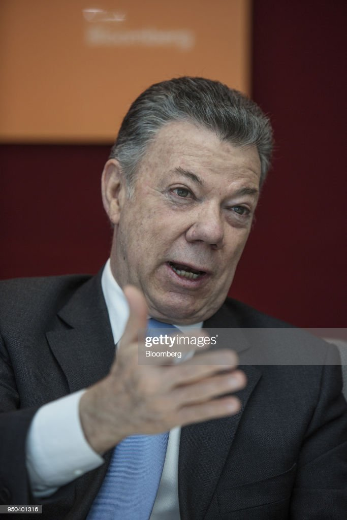 Juan Manuel Santos, Colombia's president, speaks during an interview in New York, U.S., on Monday, April 23, 2018. Santosdiscussed the Colombian peace agreement, the nation's economy, and the Venezuelan migration crisis. Photographer: Victor J. Blue/Bloomberg via Getty Images