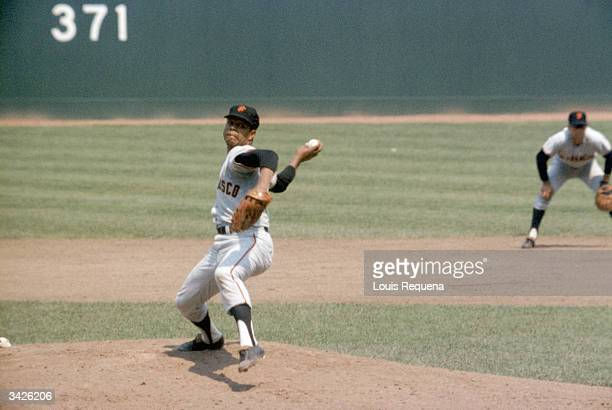 Juan Marichal of the San Francisco Giants pitches during a 1968 season game