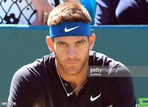 Juan Martin del Potro during his match against Taylor Fritz day two of The Boodles Tennis Event at Stoke Park on June 27 2018 in Stoke Poges England