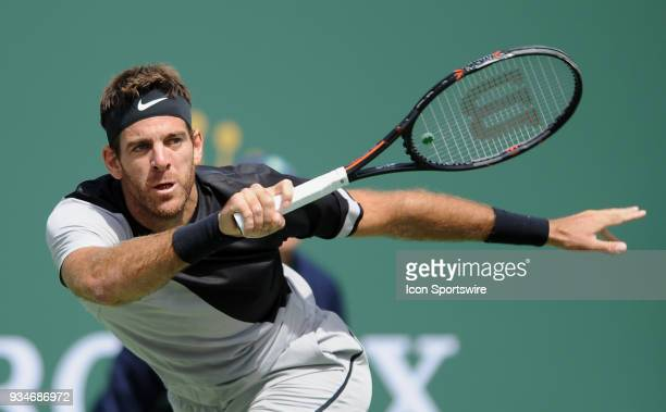Juan Martin Del Potro in action during the first set of a finals match played during the BNP Paribas Open on March 18 2018 at the Indian Wells Tennis...
