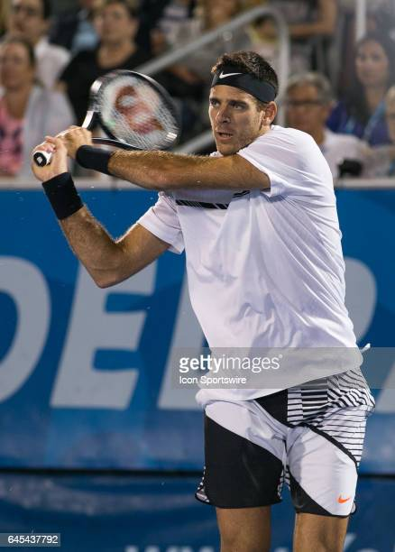 Juan Martin del Potro is defeated by Milos Raonic during the Semifinals of the ATP Delray Beach Open on February 25 at the Delray Beach Stadium...