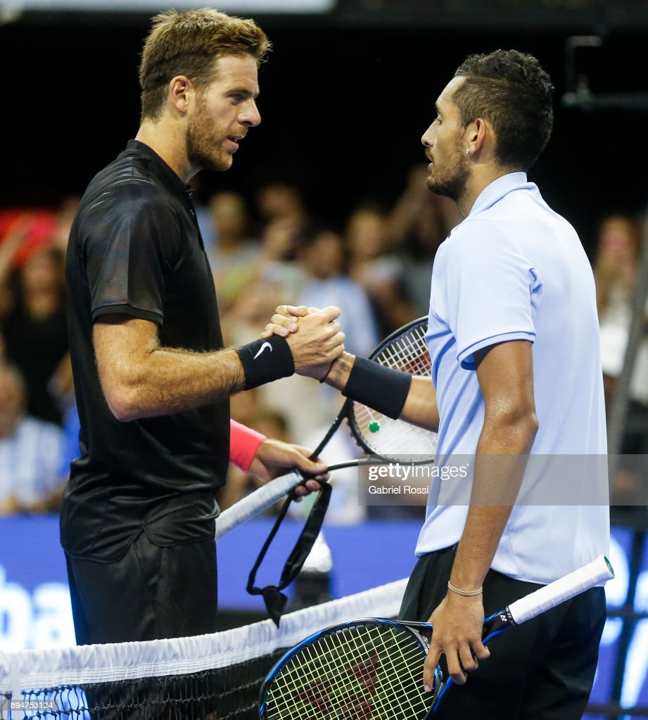 Juan Martin Del Potro of Argentina and Nick Kyrgios of Australia shakes hand after finish an exhibition match between Juan Martin Del Potro and Nick Kyrgios at Luna Park on December 15, 2017 in Buenos Aires, Argentina.